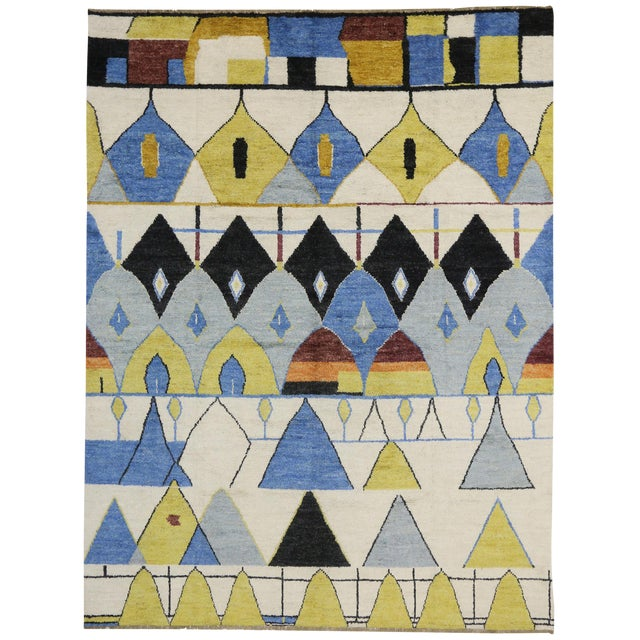 Contemporary Moroccan Style Rug with Modern Geometric Design - Image 1 of 6