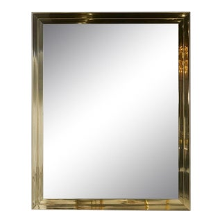 Large Vintage Brass Wall Mirror For Sale