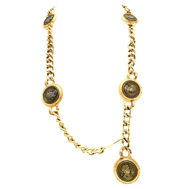 1980's Gold Plate & Roman Coin Chain Link Belt / Necklace by Omega