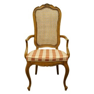 Late 20th Century Vintage Thomasville Furniture Camille Collection Cane Back Dining Arm Chair For Sale