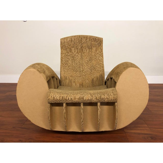 Rocking Lounge Chair Made Entirely of Cardboard For Sale - Image 11 of 13