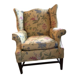 Upholstered Winged Back Chair For Sale