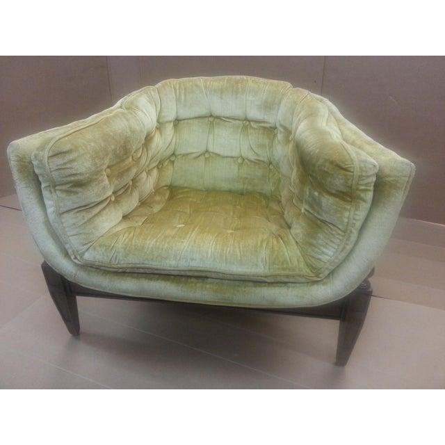 Gio Ponti Original Tufted & Tucked Gold Velvet Tripod Club Chair - Image 2 of 11