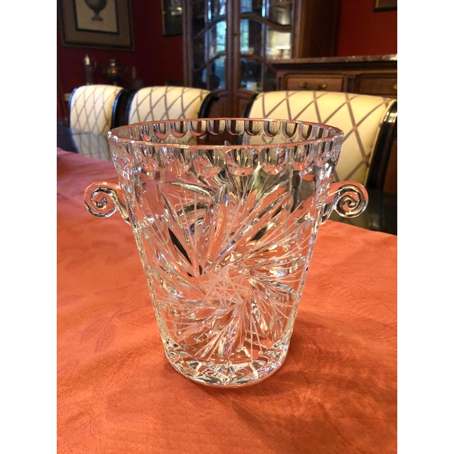 Art Deco Antique American Brilliant Cut Glass Ice or Wine Bucket For Sale - Image 3 of 9