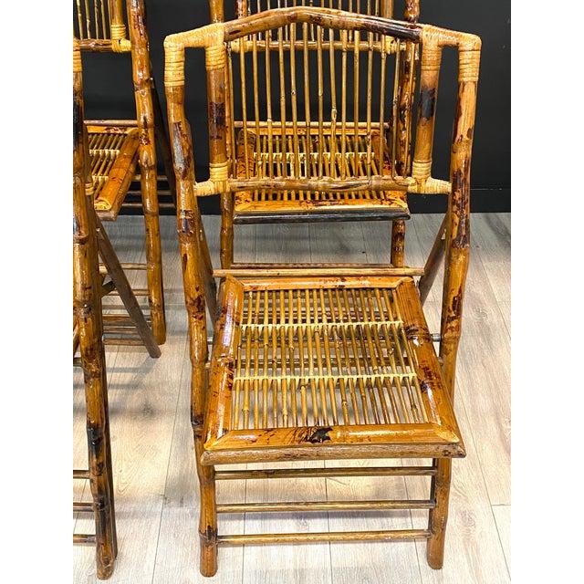 Mid-Century Modern Stunning Set of 4 Vintage Mid Century Modern Tortoise Bamboo Folding Chairs For Sale - Image 3 of 8