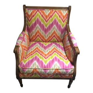 Flame Stitch Fabric Bergere Arm Chair For Sale