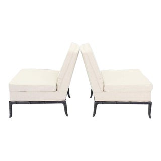 Mid-Century Modern Horn Shape Faux Bamboo Legs Slipper Chairs - a Pair For Sale