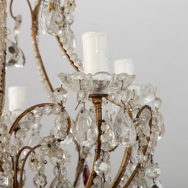 French Five Light Brass Beaded Cage Shape Chandelier - Image 5 of 6