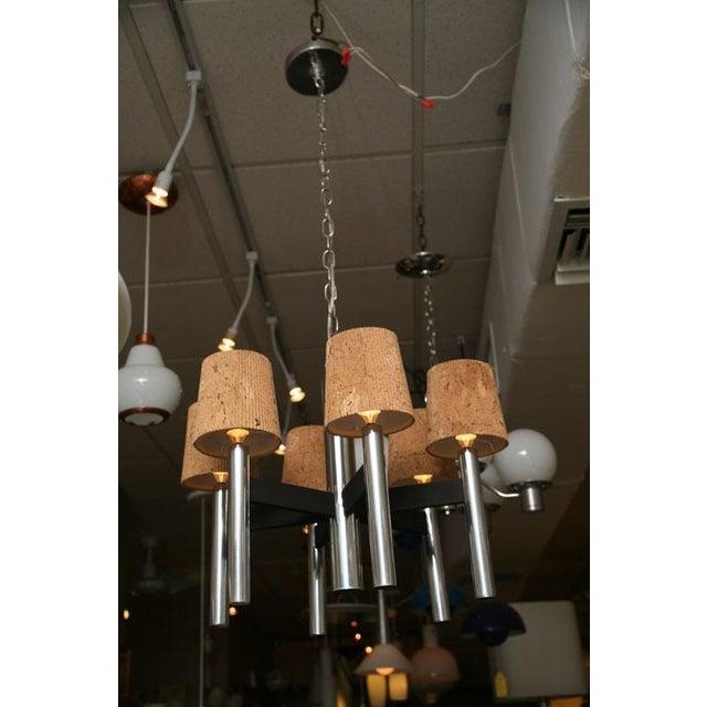 Modern Feldman Lamp Co. Chrome Tubular Chandelier With Cork Shades. - Image 10 of 11