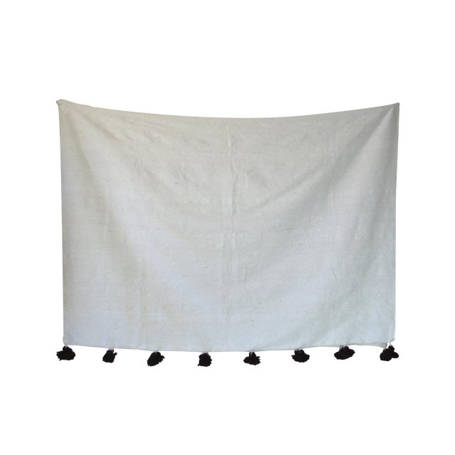 Moroccan White & Brown Pom Pom Blanket For Sale