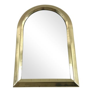 Vintage Mid Century Hollywood Regency Brass Wall Mirror For Sale