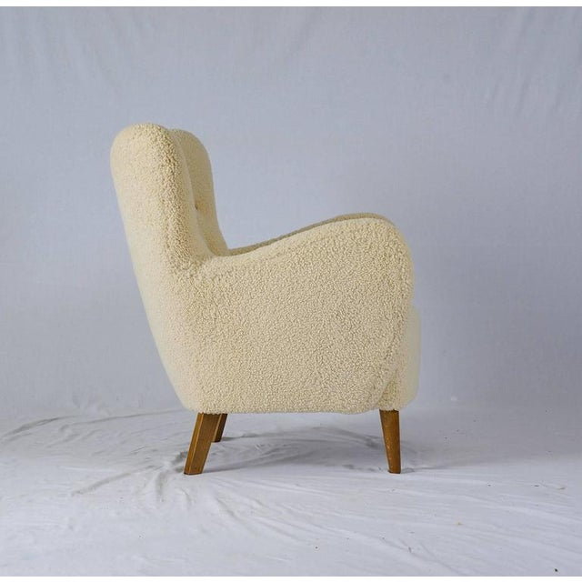 Scandinavian Sheepskin Lounge Chair - Image 4 of 10
