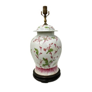 Late 19th Century Asian Antique Peach Blossoms Porcelain Temple Jar Table Lamp For Sale