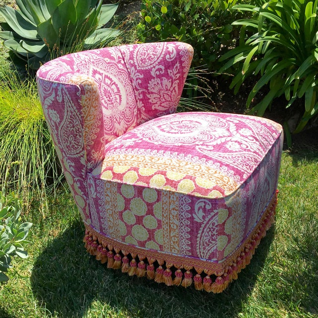 Boho Chic Mid-Century Modern Block Print Pattern Swivel Slipper Chairs - a Pair For Sale - Image 3 of 8