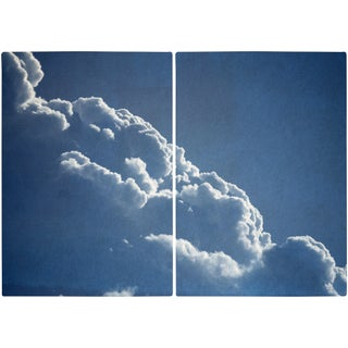 """""""Floating Clouds Diptych"""" Contemporary Handmade Cyanotype Print by Kind of Cyan - Set of 2 For Sale"""