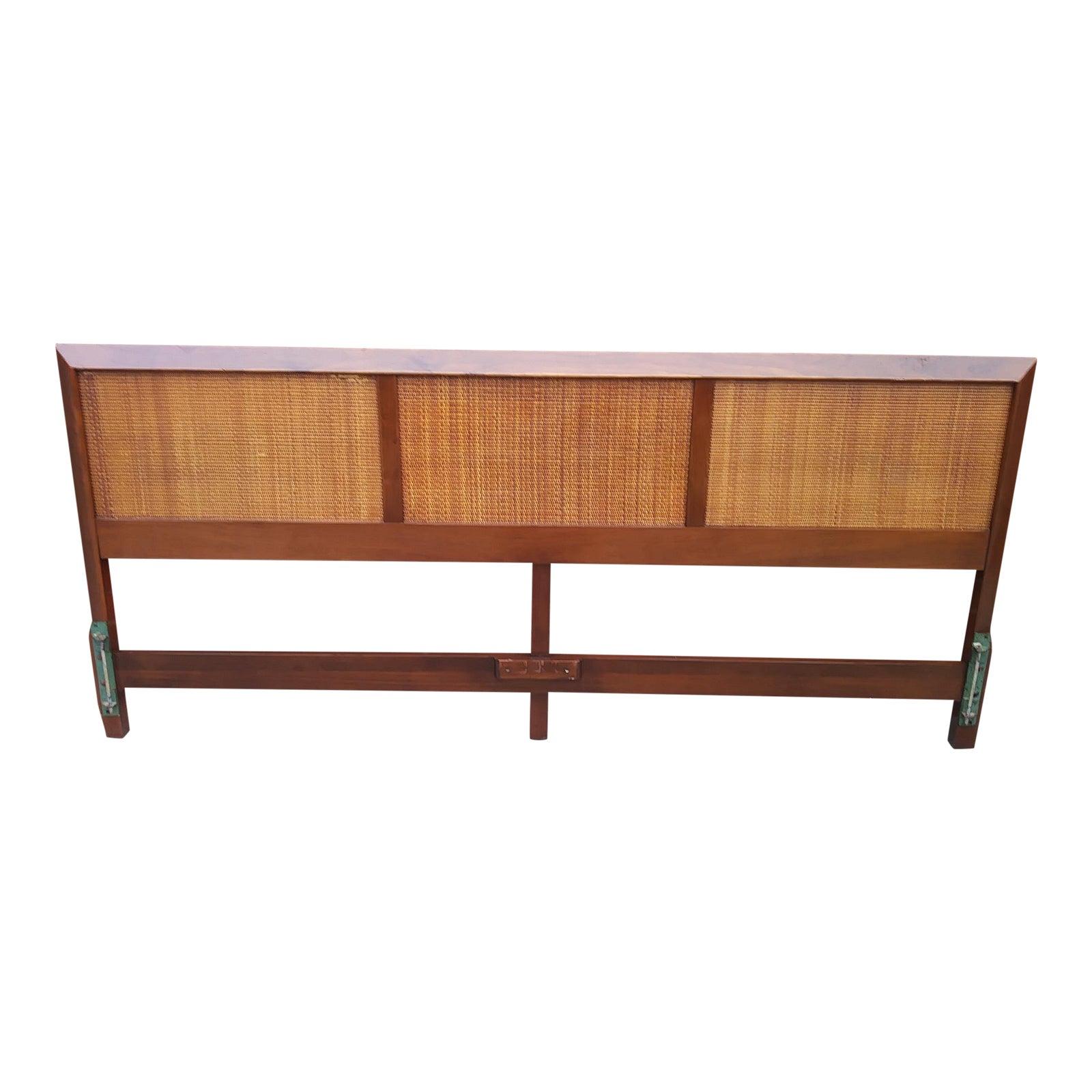 1960s vintage j b van sciver mid century modern king size cane wood headboard chairish