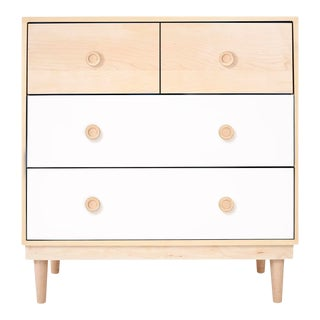 Nico & Yeye Lukka Modern Kids 4 Drawer Dresser Maple White For Sale