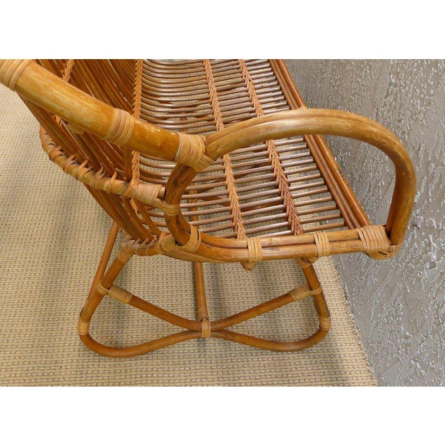 1970s Italian Bent Rattan Loveseat For Sale In Miami - Image 6 of 11