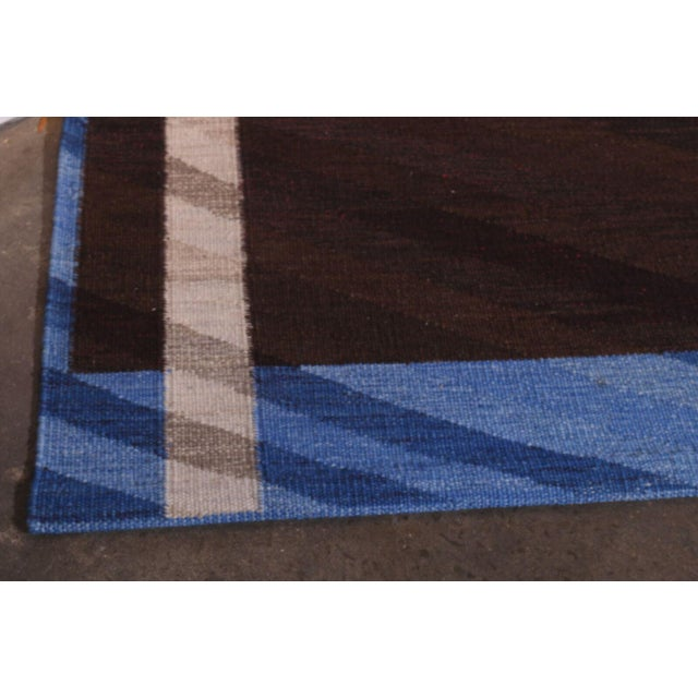 Swedish Flatweave in Custom Design Rug - 9' X 12' For Sale In New York - Image 6 of 6