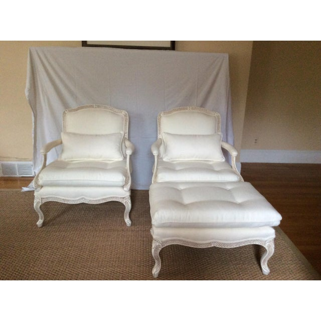 Bergere Chairs With Ottoman - Set of 3 - Image 9 of 11