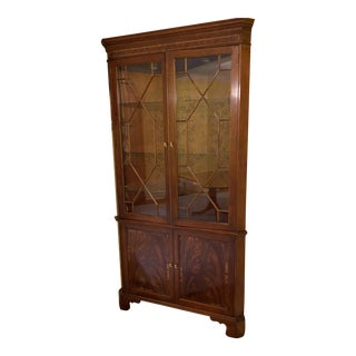 Traditional Mahogany Baker Corner China Display Cabinet For Sale