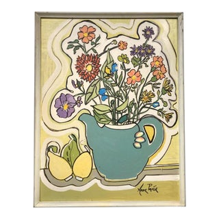 """Mid Century """"Flowers"""" Modernist Botanical Painting For Sale"""