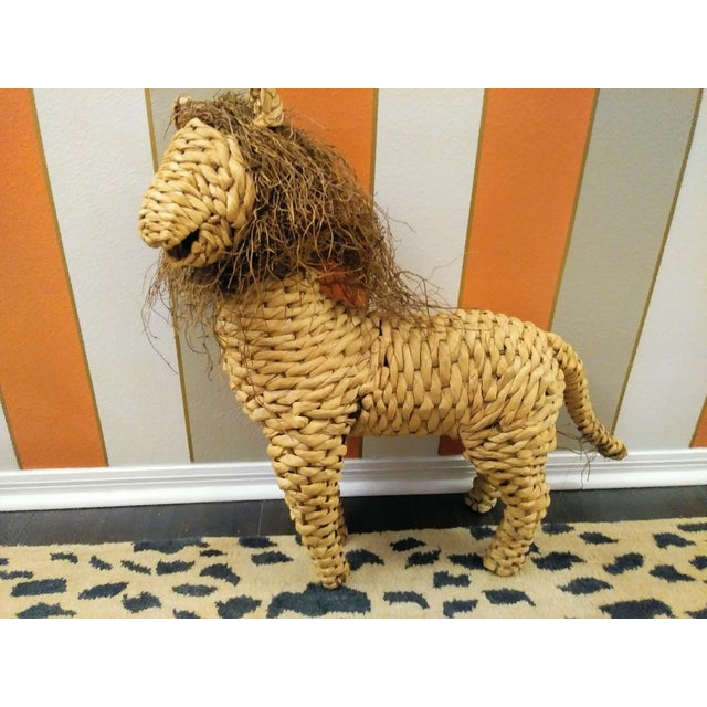 Wicker Vintage Mario Lopez Torres Style Raffia Wicker Whimsical Lion Figure Statue Decor For Sale - Image 7 of 7