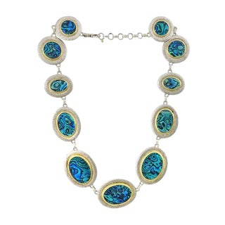 Gurhan Sterling Silver Gold Abalone Shell Necklace For Sale