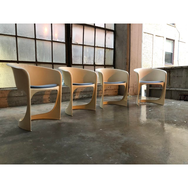 Cado by Steen Ostergaard Mid Century Danish Modern Molded Plastic Stacking Dining Chairs - Set of 4 - Image 4 of 7