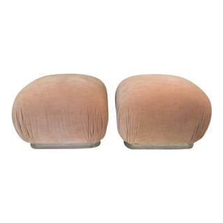 Mid-Century Upholstered Peach Poufs Souffle Ottomans - a Pair For Sale