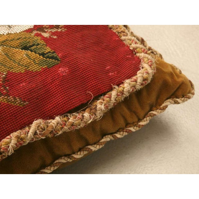 Red Circa 1900 Victorian English Beaded and Needlepoint Pillow For Sale - Image 8 of 11