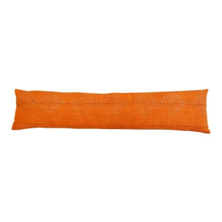 """Tangerine Orange African Mud-Cloth Feather/Down Body Pillow 45"""" X 11"""" For Sale"""