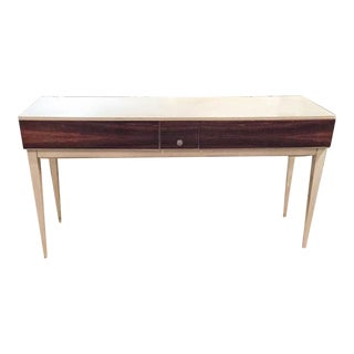 Mid Century Desk, Console With Walnut Drawers For Sale
