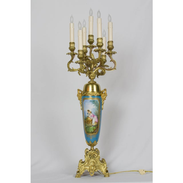 Large Urn Form French Gilt Bronze and Turquoise Porcelain Candelabra For Sale - Image 10 of 10