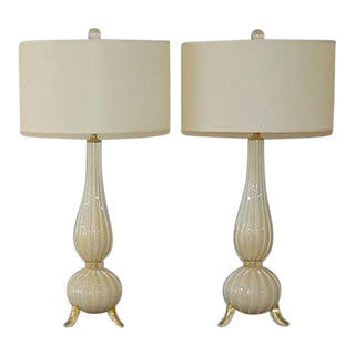 Murano Glass Three Footed Table Lamps White Gold For Sale