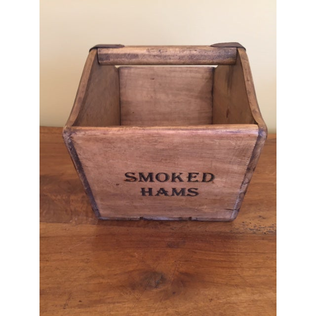 Vintage Mid-Century English Wooden Cheese and Ham Monger Basket For Sale - Image 4 of 7