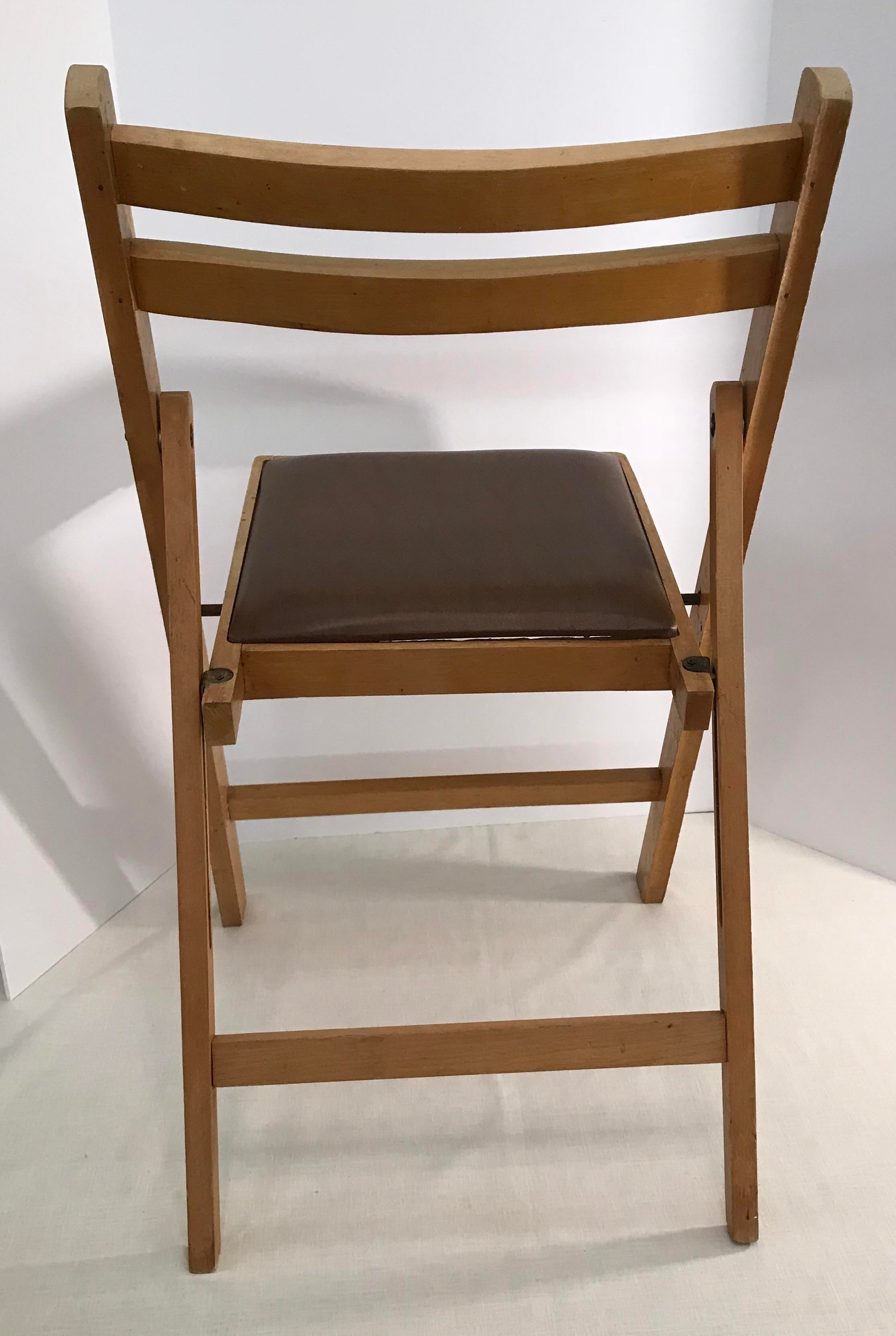 Vintage Wooden Folding Chair, Made In Romania   Image 7 Of 11