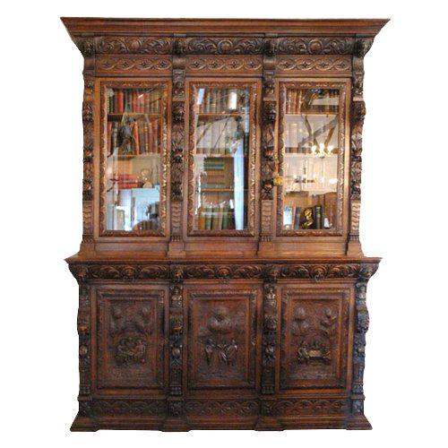Large Carved Oak Six Door Bookcase For Sale