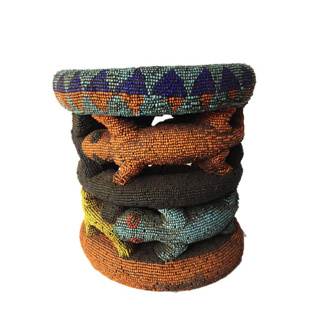 """Beaded Wood Bamileke Leopard Stool /Table Cameroon 8.5'""""h For Sale - Image 12 of 13"""