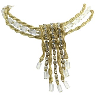 Scaasi Red Carpet Gold, Rhinestone and Lucite Necklace For Sale