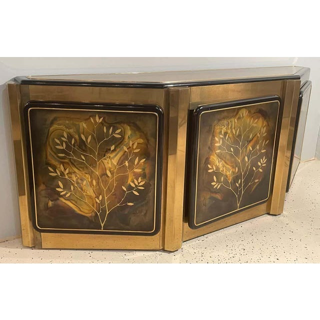 Gold Mid-Century Modern Mastercraft Tree of Life Console or Sideboard For Sale - Image 8 of 13