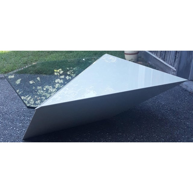 Late 20th Century Cantelevered Glass & Laquer Coffee Table - Image 4 of 6