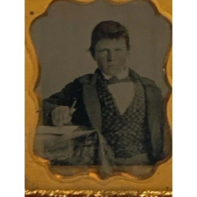 Victorian 19th Century Ambrotype of a Young Male Student/ Writer, Gutta Percha Case For Sale - Image 3 of 8