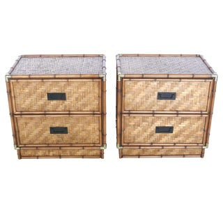 1970s Vintage Campaign-Style Bamboo and Wood Nightstands - A Pair For Sale