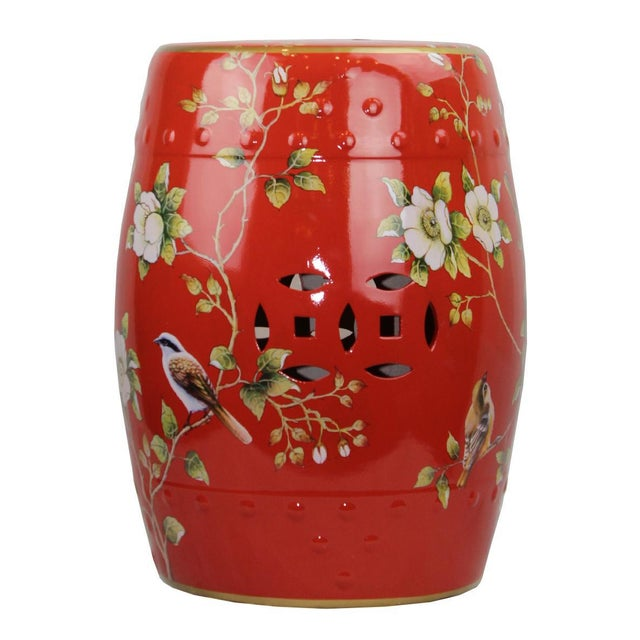 2010s Pasargad DC Modern Contemporary Floral Porcelain Garden Stool For Sale - Image 5 of 5