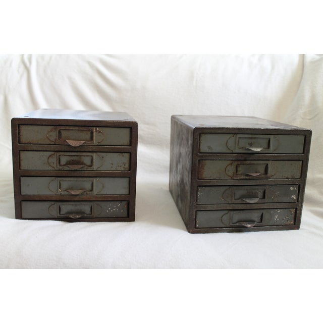 Cool, industrial table top metal cabinets, perfect for storing smaller items for your office or home. Has a great...