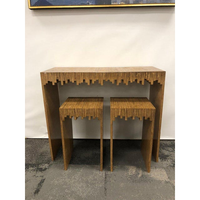 Late 20th Century Modern Console Table and Drink Tables / Stools Set For Sale - Image 5 of 7