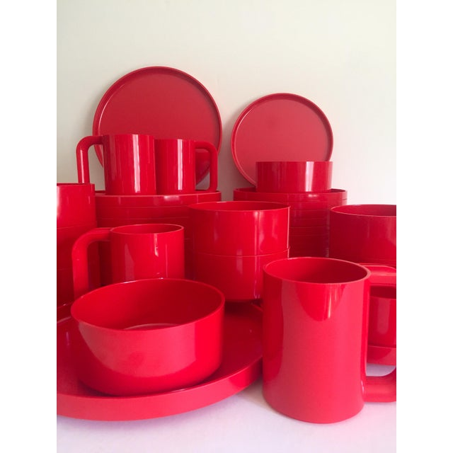 Contemporary Vintage 1970's Heller Massimo & Lella Vignelli Red Melamine Iconic Stacking Modernist Dinnerware - 40 Pc Set For Sale - Image 3 of 13