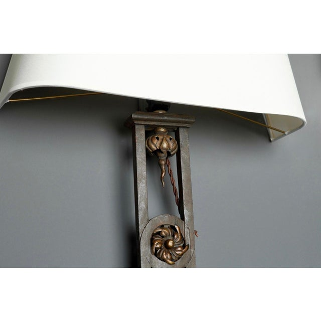 Metal Tall Iron Sconces Made from Antique Balustrades - a Pair For Sale - Image 7 of 9