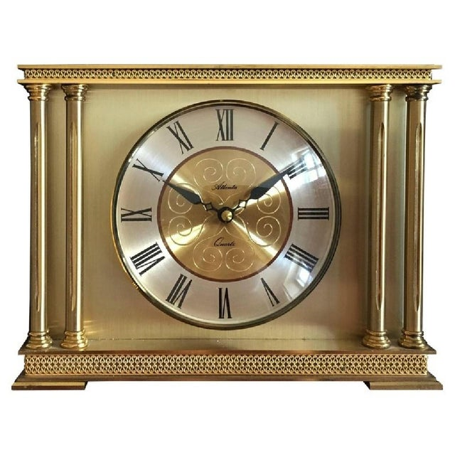 Brass Mantel Clock from Atlanta, 1979 For Sale - Image 6 of 6